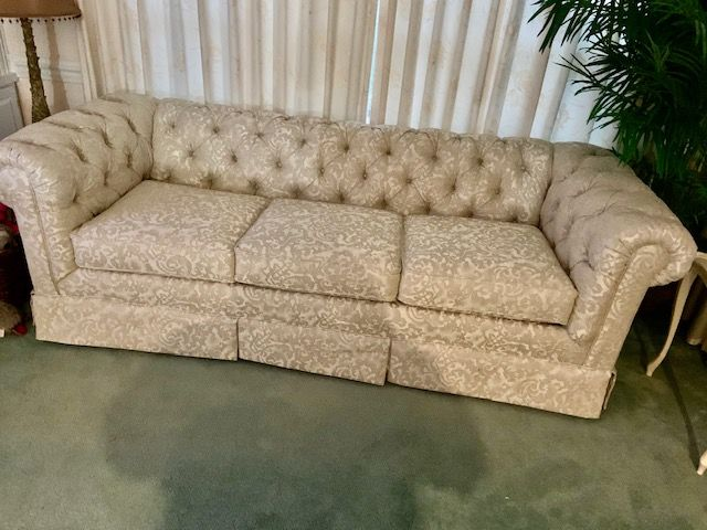 Tufted sofa after completion